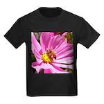 Honey Bee on Pink Wildflower Kids Dark T-Shirt