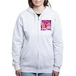 Honey Bee on Pink Wildflower Women's Zip Hoodie