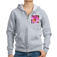 Honey Bee on Pink Wildflower Zip Hoodie