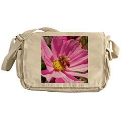 Honey Bee on Pink Wildflower Messenger Bag