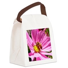 Honey Bee on Pink Wildflower Canvas Lunch Bag