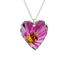 Honey Bee on Pink Wildflower Necklace