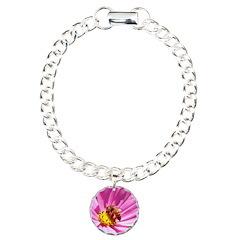 Honey Bee on Pink Wildflower Bracelet