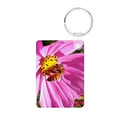 Honey Bee on Pink Wildflower Keychains
