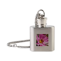 Honey Bee on Pink Wildflower Flask Necklace
