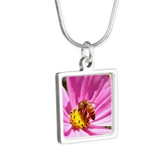 Honey Bee on Pink Wildflower Silver Square Necklac