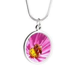 Honey Bee on Pink Wildflower Silver Round Necklace