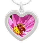 Honey Bee on Pink Wildflower Silver Heart Necklace