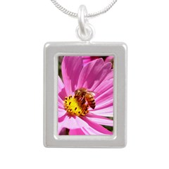 Honey Bee on Pink Wildflower Silver Portrait Neckl