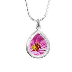 Honey Bee on Pink Wildflower Silver Teardrop Neckl