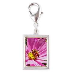 Honey Bee on Pink Wildflower Silver Portrait Charm
