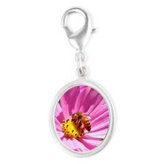 Honey Bee on Pink Wildflower Silver Oval Charm