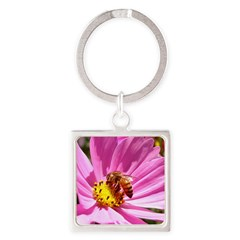 Honey Bee on Pink Wildflower Square Keychain