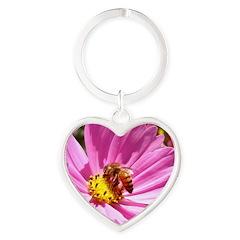 Honey Bee on Pink Wildflower Heart Keychain