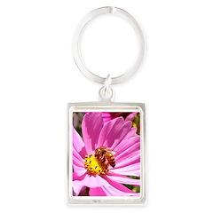 Honey Bee on Pink Wildflower Portrait Keychain