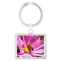 Honey Bee on Pink Wildflower Landscape Keychain