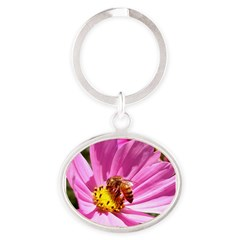 Honey Bee on Pink Wildflower Oval Keychain