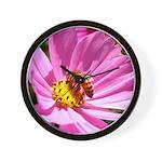 Honey Bee on Pink Wildflower Wall Clock