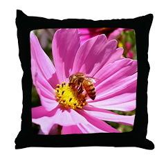 Honey Bee on Pink Wildflower Throw Pillow