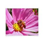 Honey Bee on Pink Wildflower Throw Blanket