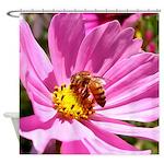 Honey Bee on Pink Wildflower Shower Curtain