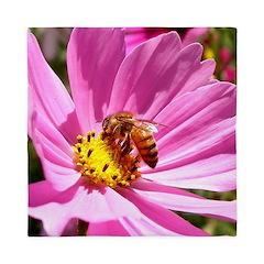 Honey Bee on Pink Wildflower Queen Duvet