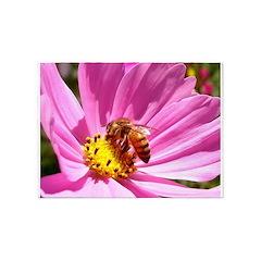 Honey Bee on Pink Wildflower 5'x7'Area Rug