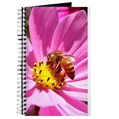Honey Bee on Pink Wildflower Journal