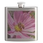 Honey Bee on Pink Wildflower Flask
