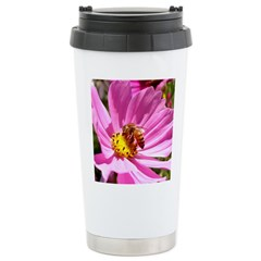Honey Bee on Pink Wildflower Stainless Steel Trave