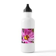 Honey Bee on Pink Wildflower Water Bottle