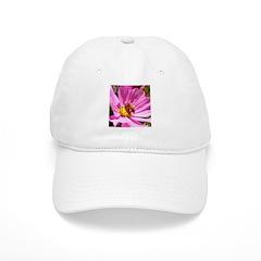 Honey Bee on Pink Wildflower Baseball Cap