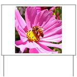 Honey Bee on Pink Wildflower Yard Sign