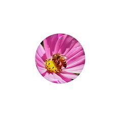 Honey Bee on Pink Wildflower Mini Button
