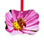 Honey Bee on Pink Wildflower Picture Ornament