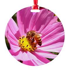 Honey Bee on Pink Wildflower Ornament