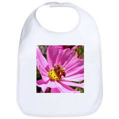 Honey Bee on Pink Wildflower Bib