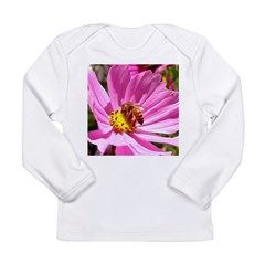 Honey Bee on Pink Wildflower Long Sleeve Infant T-