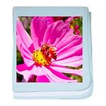 Honey Bee on Pink Wildflower baby blanket