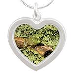 Bullfrog in green is King Silver Heart Necklace