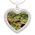 Bullfrog in green is King Silver Heart Necklace