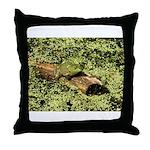 Bullfrog in green is King Throw Pillow