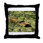 Bullfrog in green is King Throw Pillow
