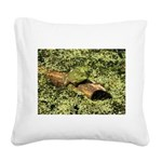 Bullfrog in green is King Square Canvas Pillow