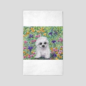 Maltese pup in the garden 3'x5' Area Rug