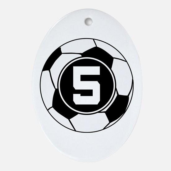 Soccer Number 5 Player Ornament (Oval)