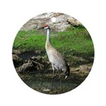 Sandhill Crane on Patrol LS Ornament (Round)