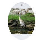 Sandhill Crane on Patrol LS Ornament (Oval)