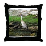 Sandhill Crane on Patrol LS Throw Pillow