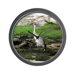 Sandhill Crane on Patrol LS Wall Clock